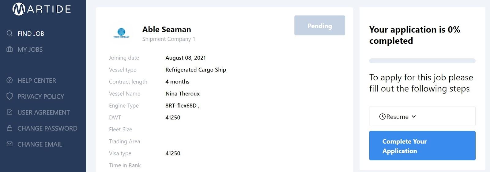 screenshot of a job on martide's maritime jobs site.