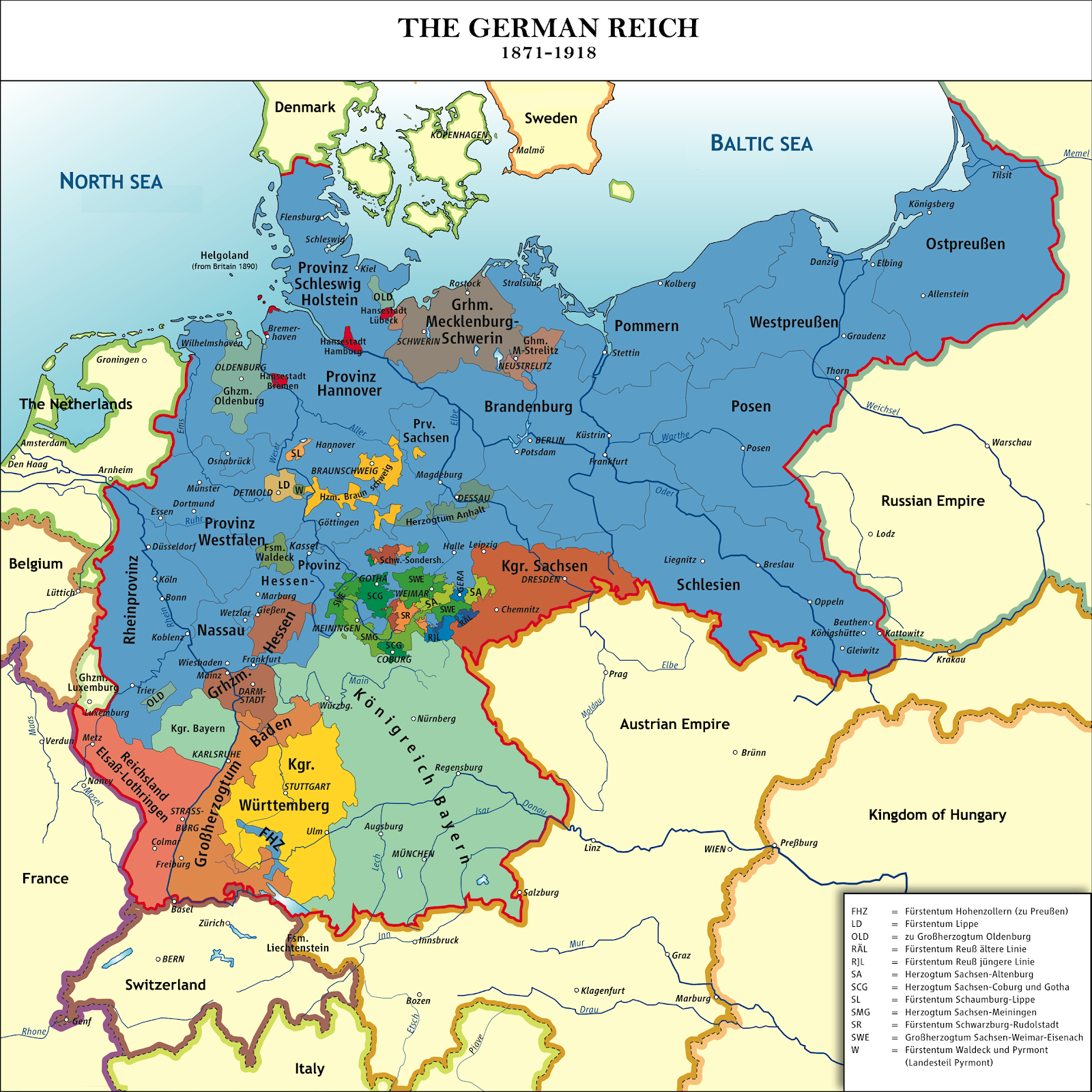 Map of Germany after unification.