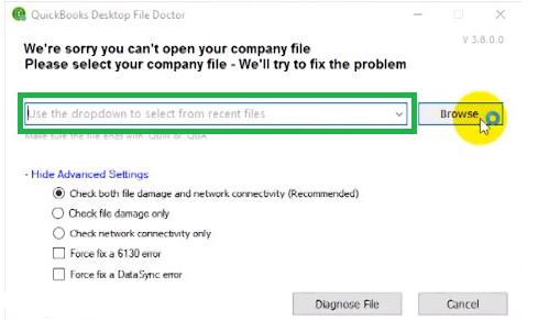 Quickbooks file doctor browse file