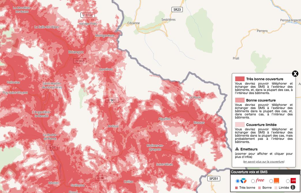 Exemple de couverture téléphonique (appels et SMS) dans la région de Briançon pour l'opérateur Bouygues Télécom