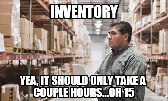 Frustrated employee contemplating to count inventories