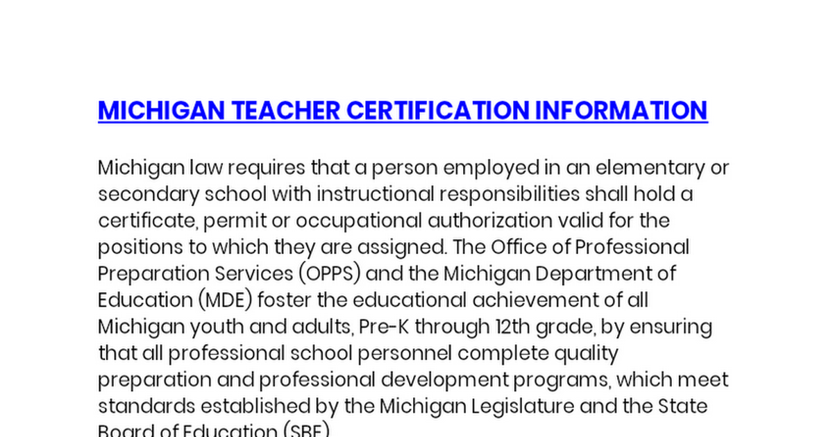 Michigan Teacher Certificatiaon Information Google Docs