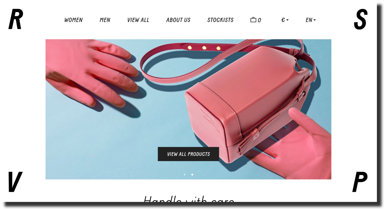 RSVP is a leather goods company website screenshot