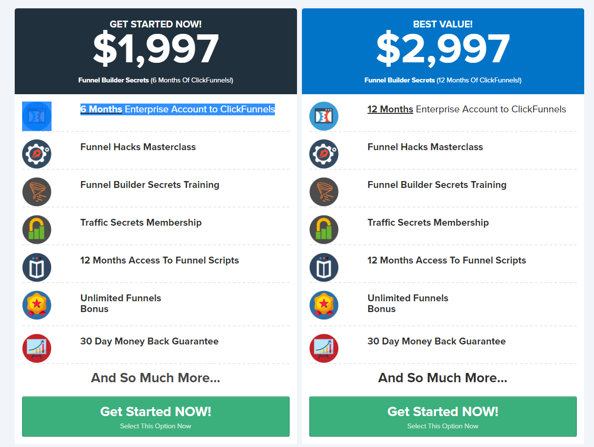 screenshot of the funnel builder secrets pricing page