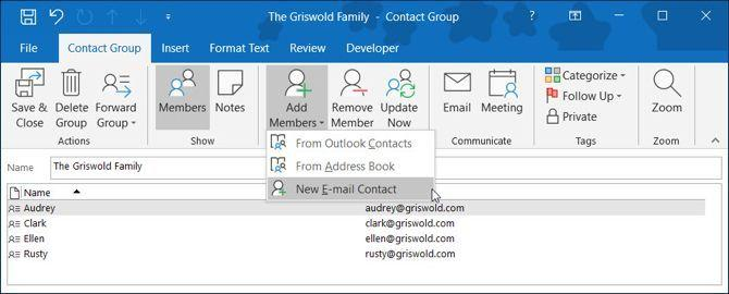 New Outlook contact group Windows