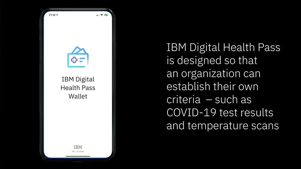interface de l'appli IBM Digital Health pass