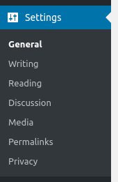 wordpress dashboard settings options