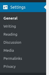 wordpress dashboard settings options