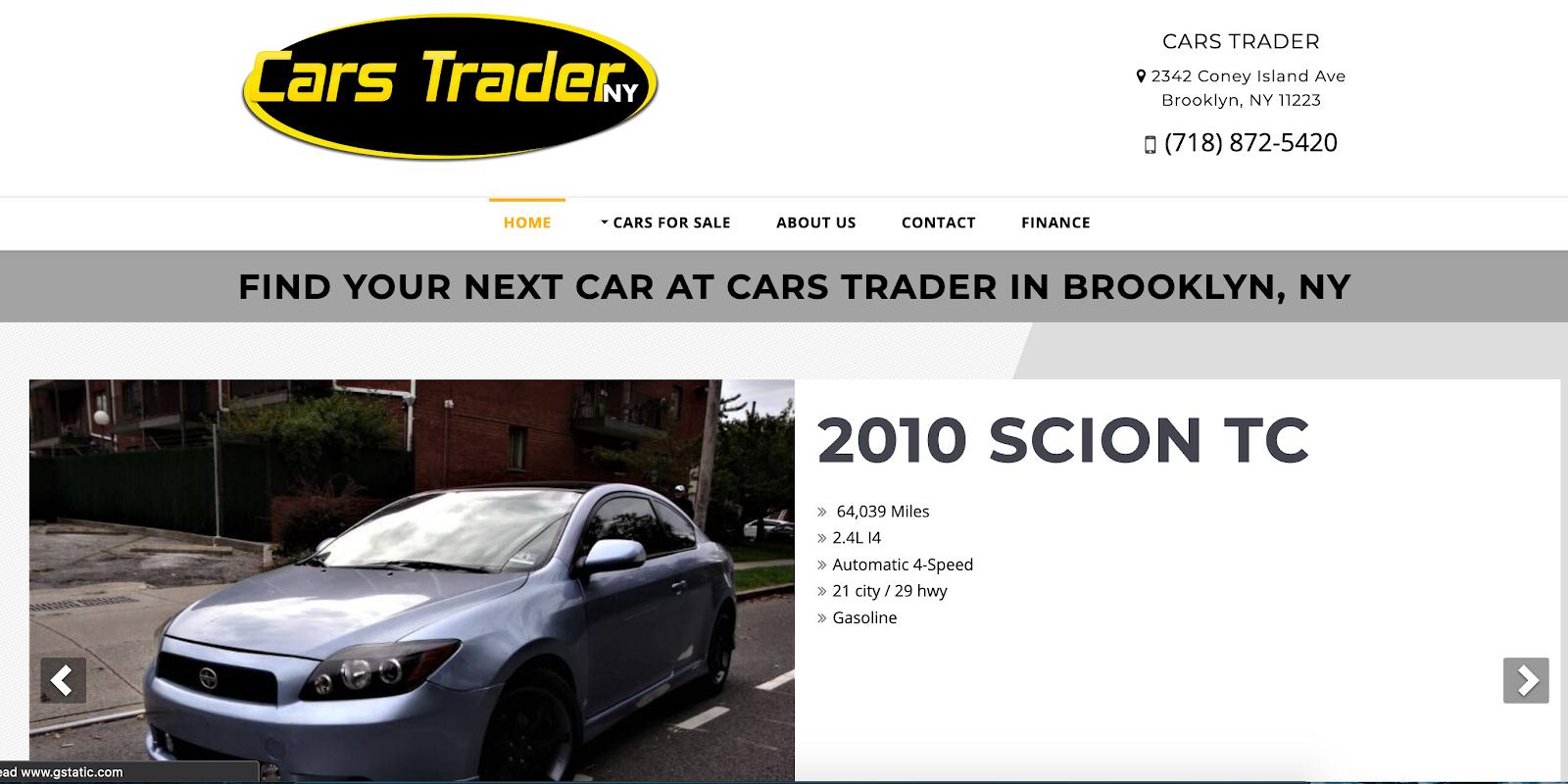 Photo of Cars Trader NY webpage