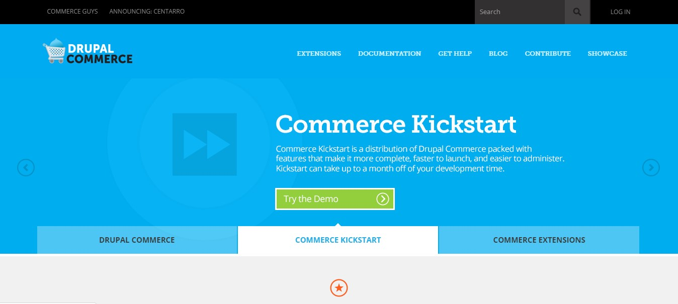 DrupalCommerce's landing page.