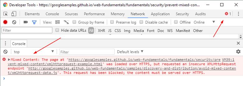 Công cụ dành cho nhà phát triển Chrome Nội dung hỗn hợp