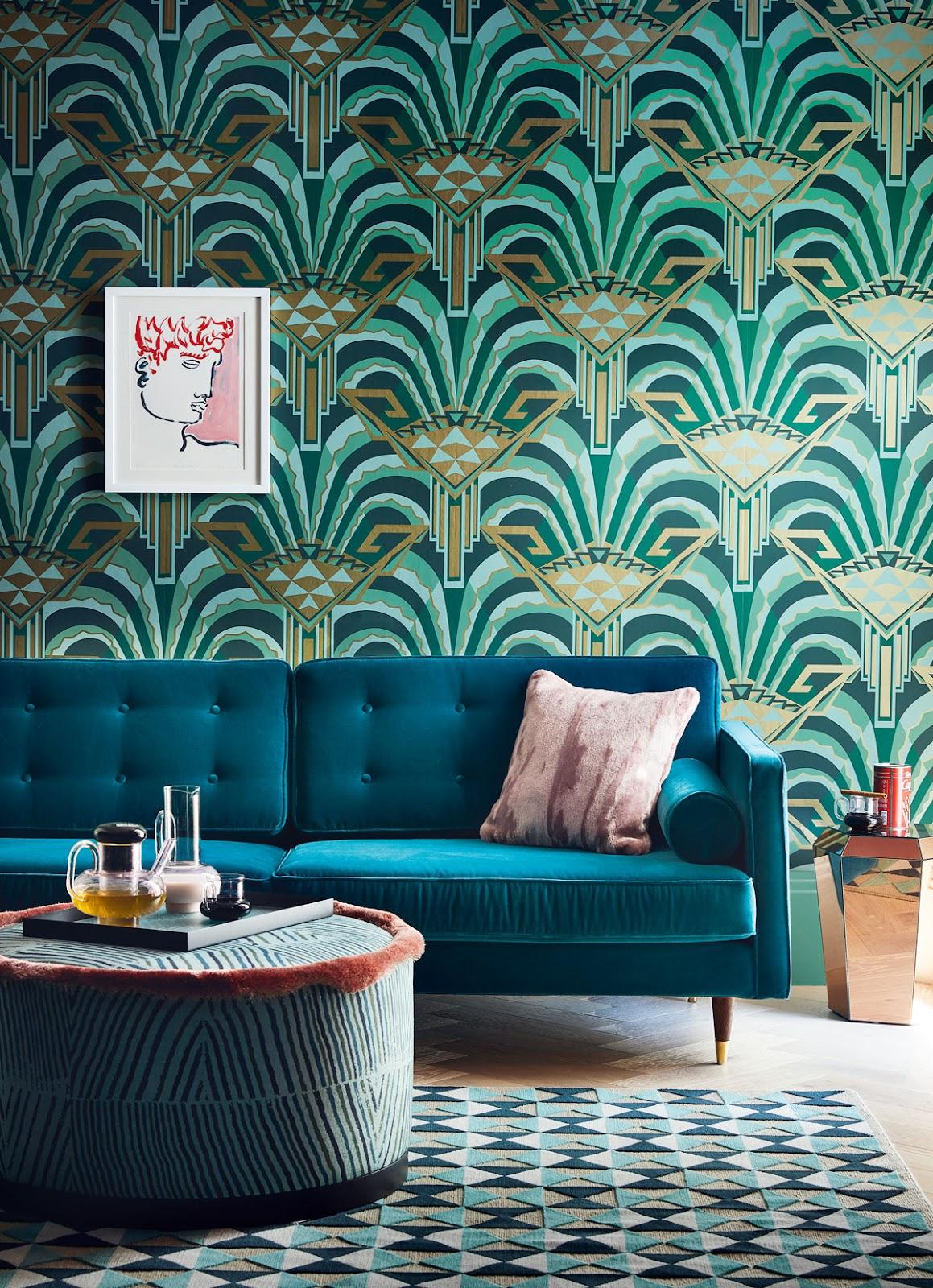 Motif wallpaper pada hunian bergaya art deco - source: pinterest.com