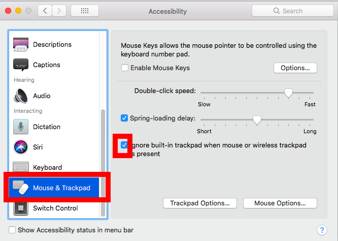 "Select ""Mouse and Trackpad"" - Mac"