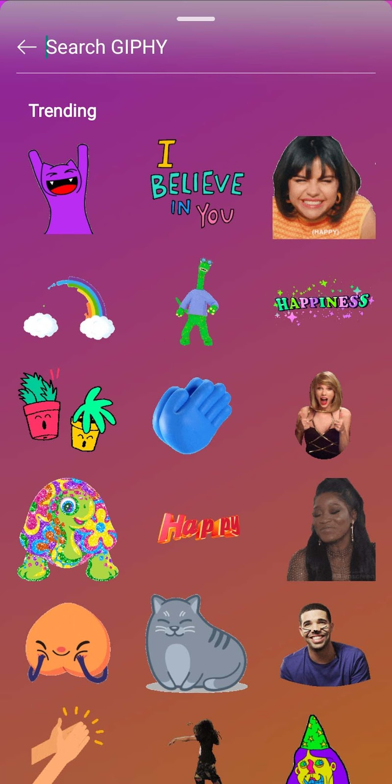 GIPHY Search in Instagram