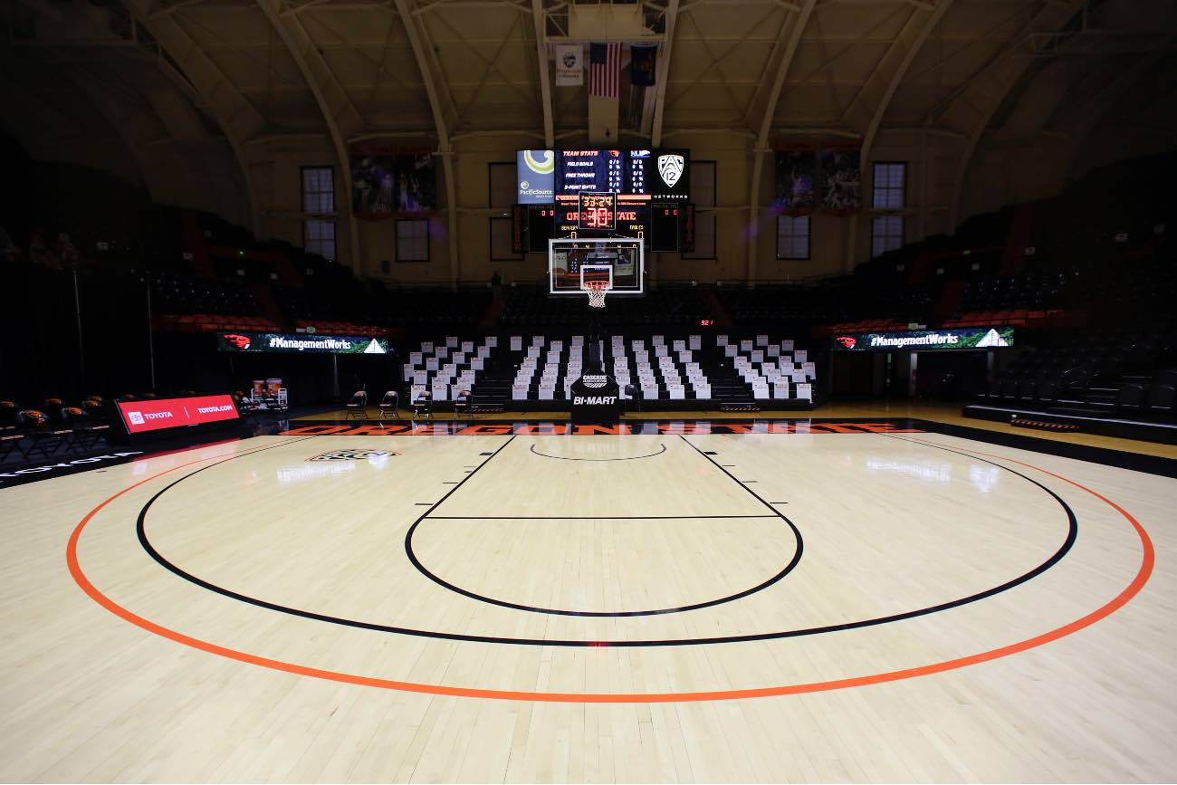 CORVALLIS, OREGON - NOVEMBER 27: An overall view of the court before the game between the Oregon State Beavers and the Northwest Eagles at Gill Coliseum on November 27, 2020 in Corvallis, Oregon. (Photo by Soobum Im/Getty Images)