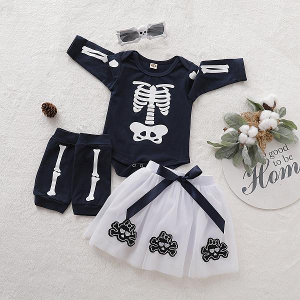 Baby Halloween Skeleton Set with Bodysuit + Skirt + Leg Warmers