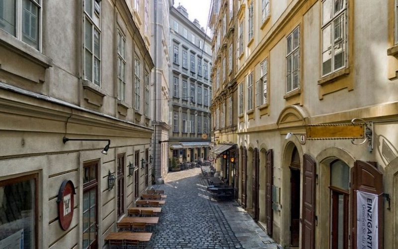 street view in the Jewish quarter of Vienna