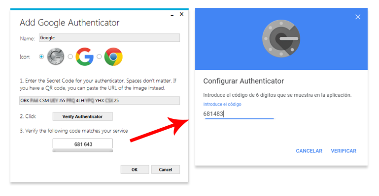 Añadir código secreto de WinAuth para configurar Google Authenticator en PC