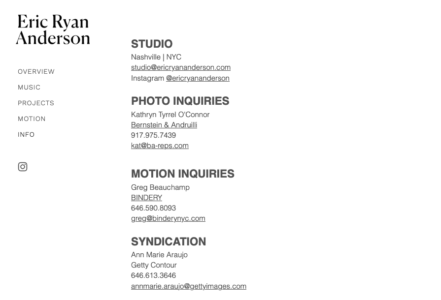 Screenshot of photography website design for Eric Ryan Anderson