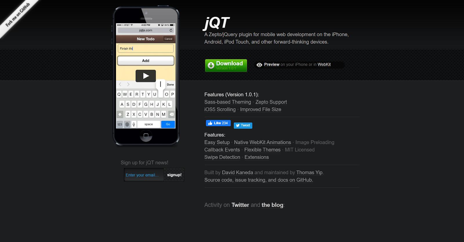 jQT HTML5 Mobile App Development