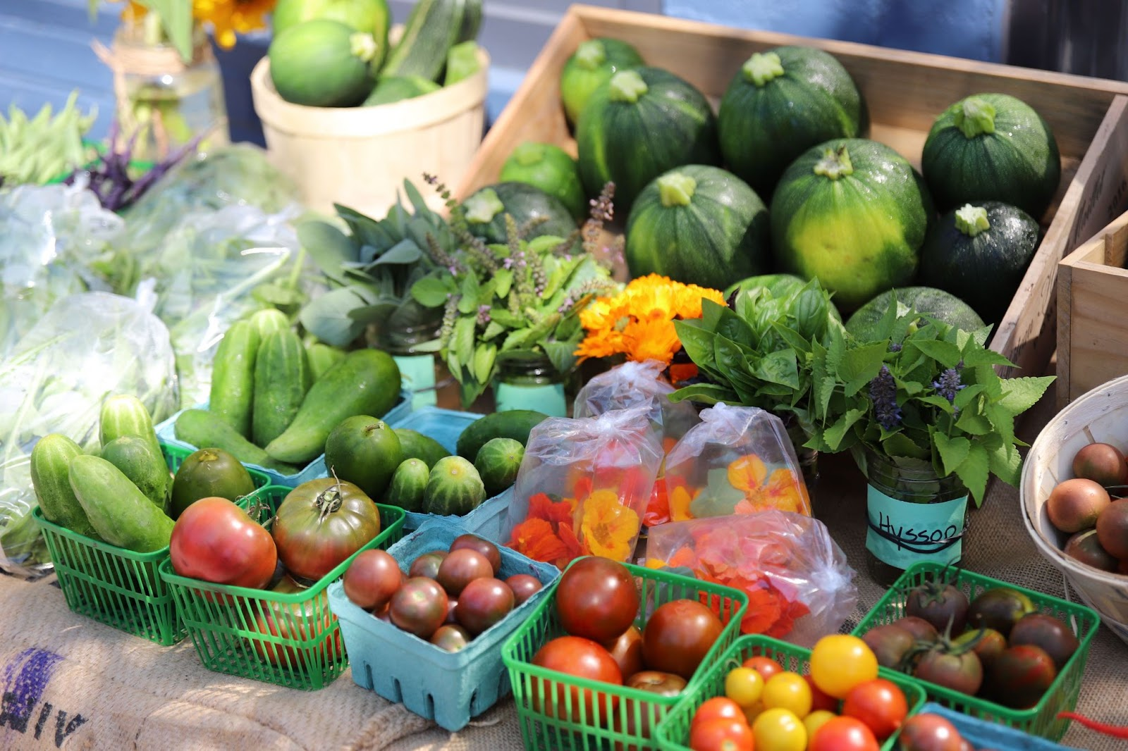 A spread of vegetables including cucumbers, tomatoes, cheery tomatoes and zucchini laid out on a table at a farmer's market.