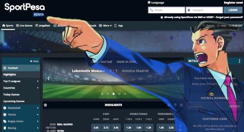 sportpesa main menu page