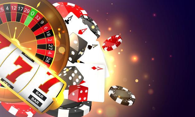 Vektor Premium |  Kasino online.  ponsel cerdas atau ponsel, mesin slot, chip kasino yang menerbangkan token realistis untuk perjudian, uang tunai untuk roulette atau poker,