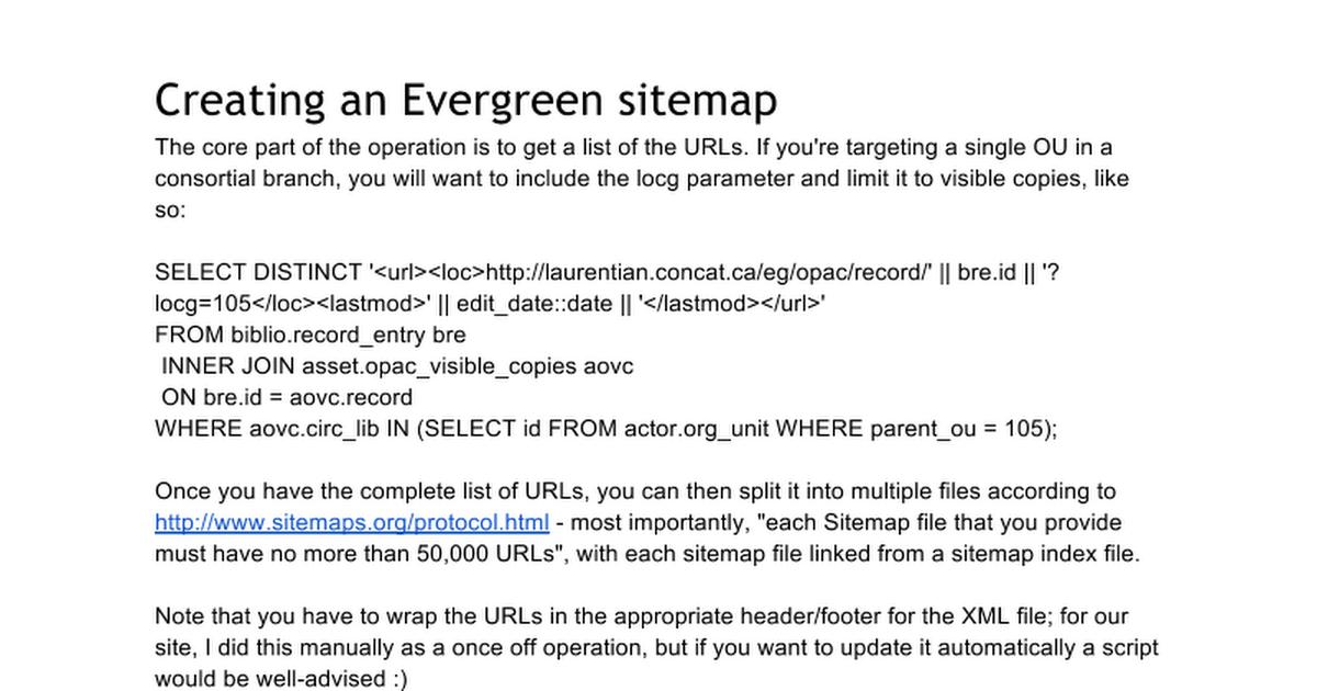 evergreen sitemap google docs