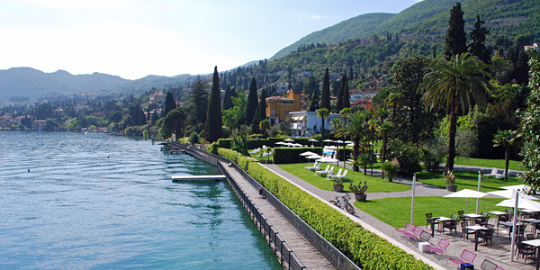 This is a photo of the view from Hotel Bella Riva on Lake Garda