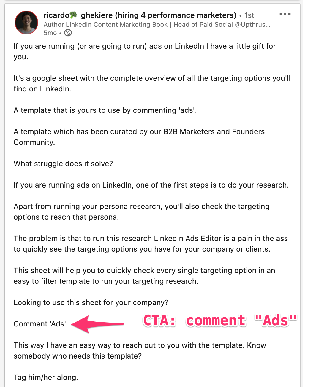 Example of a LinkedIn post that asks for engagement in return for content.