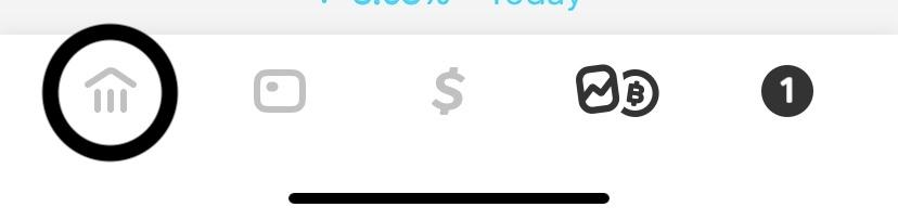 Image of a CashApp Screenshot - Option to Select Home screen