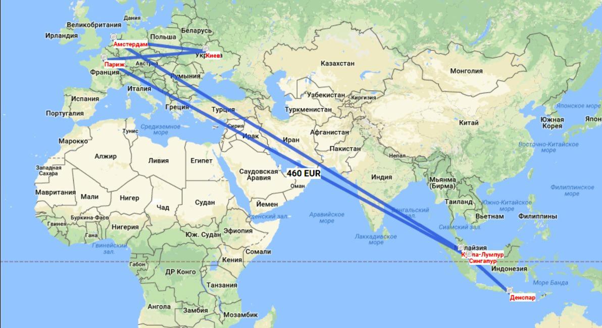 Бали на карте мира - авиаперелеты Киев-Бали