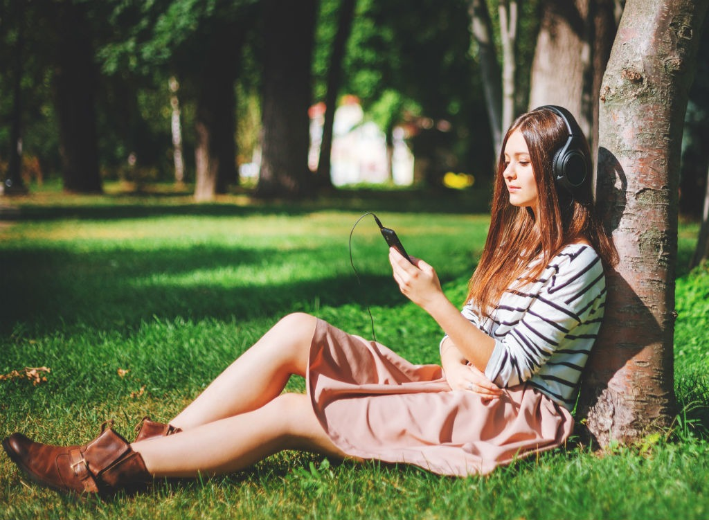 Image result for college girl listening to music