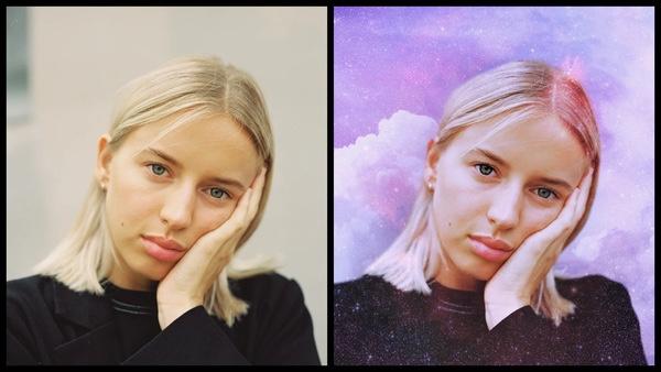 Um tutorial de edição usando AirBrush com uma foto de uma modelo loira de olhos verdes e brilhos em estilo galáxia