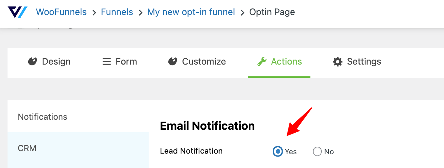 Enable the lead notification - lead generation