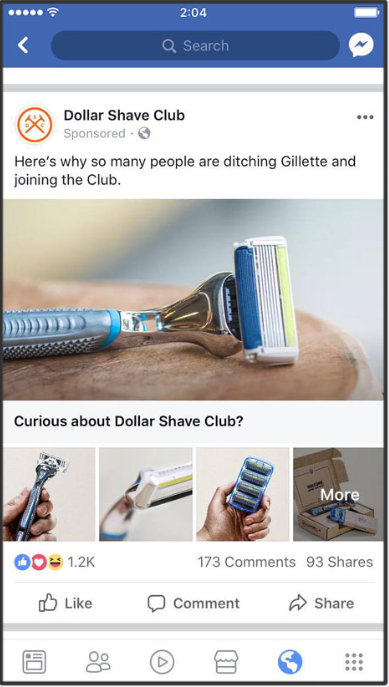 """A Facebook ad from Dollar Shave Club with the copy, """"Here's why so many people are ditching Gilette and joining the Club."""" A perfect example to learn copywriting."""
