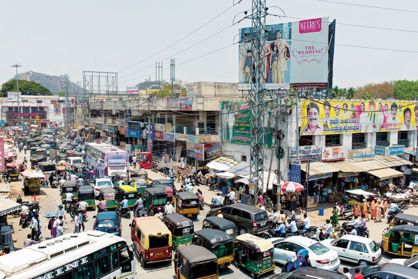 Город Виджаявада, расположенный на противоположном от будущего города берегу реки