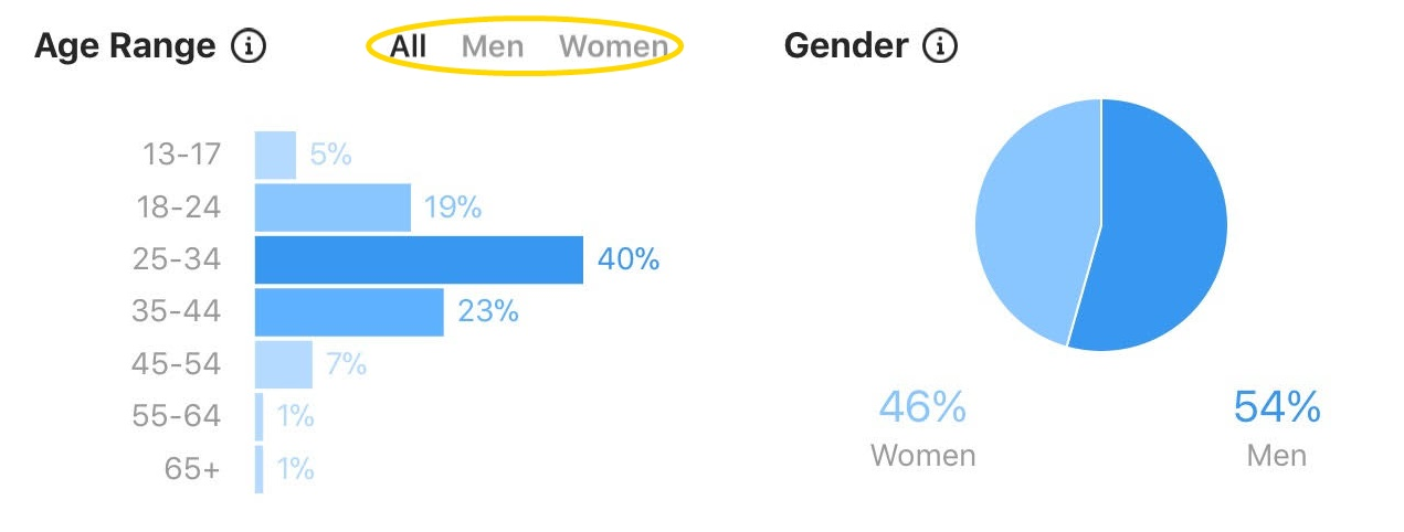 Instagram Insights: follower age and gender