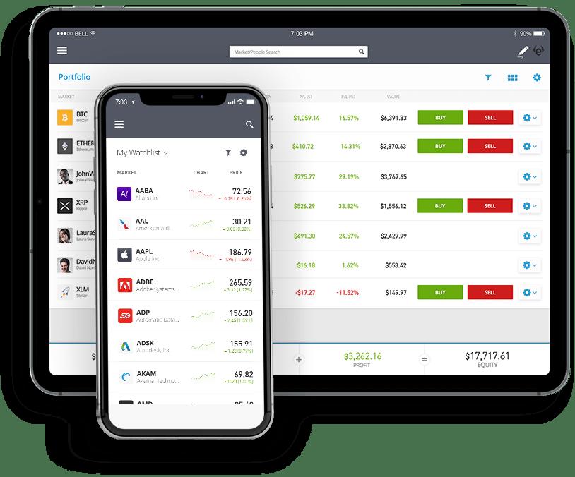 La plateforme et l'application mobile de trading en ligne d'eToro