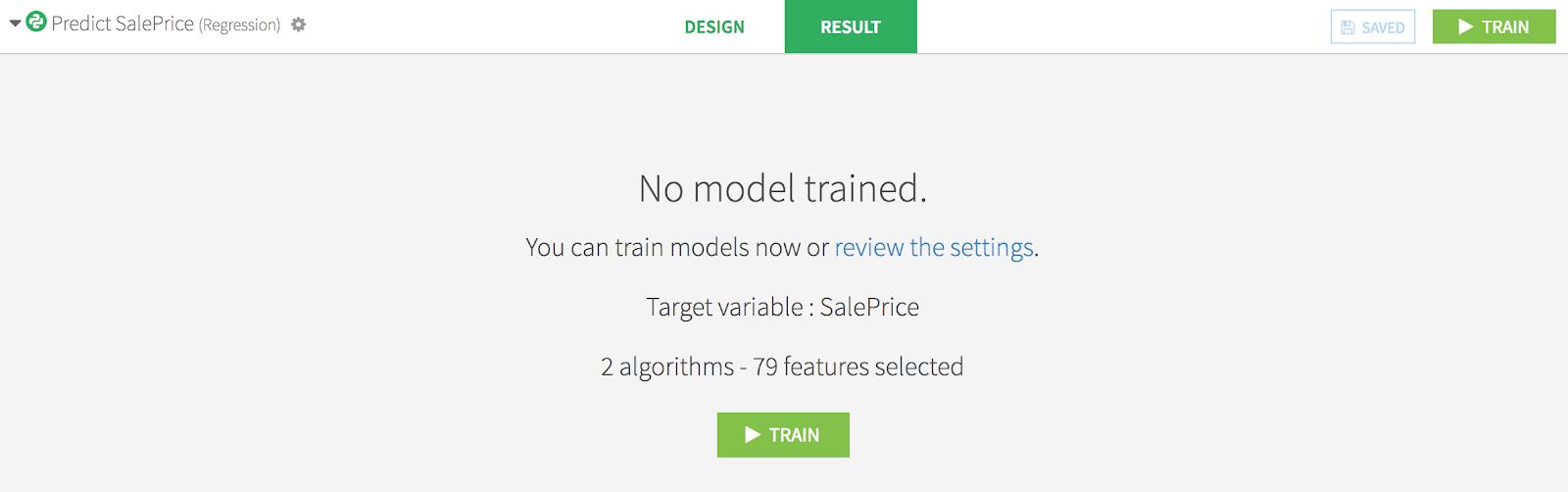 Dataiku DSS product screenshot no model trained
