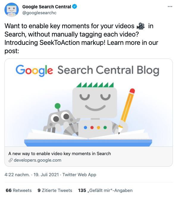 Twitter-Meldung von Google zum SeekToAction-Markup