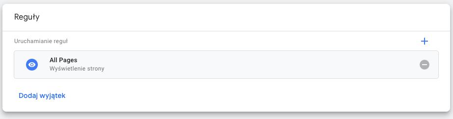 reguła w google tag manager