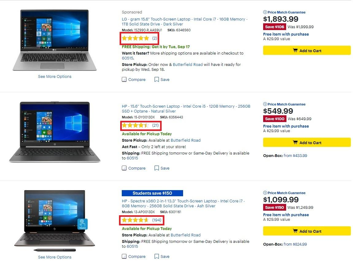 BestBuy uses start ratings to inform consumers of a product's popularity