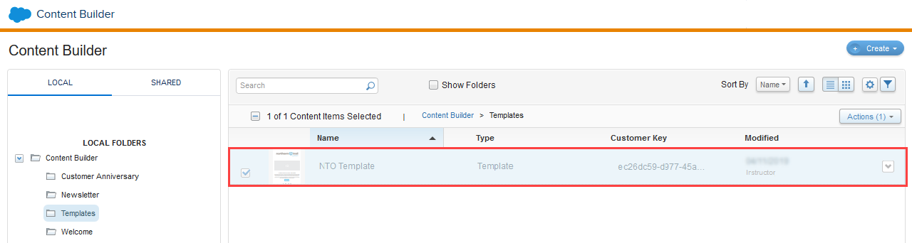A screenshot showing the saved NTO Template in the Templates folder.