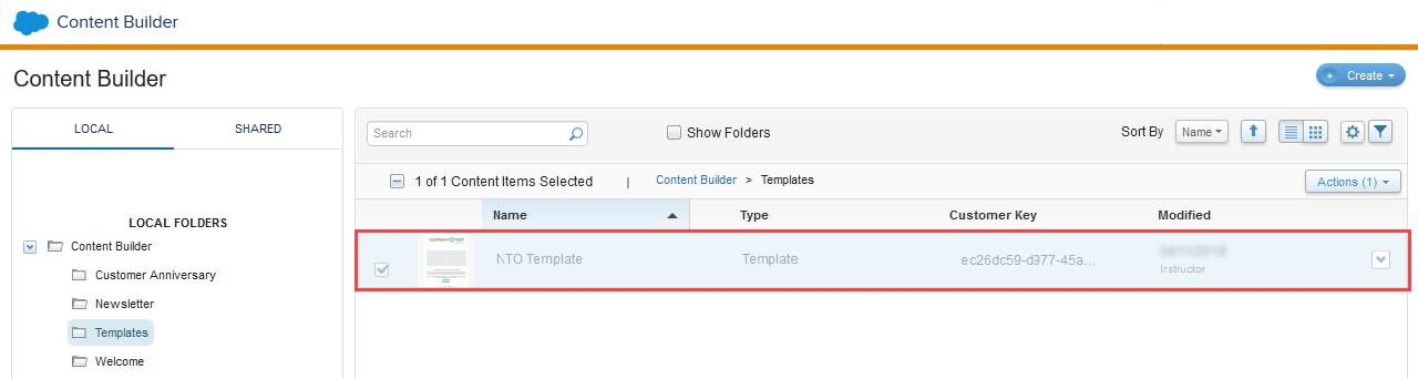 Capture d'écran montrant le modèle NTO enregistré dans le dossier Modèles.