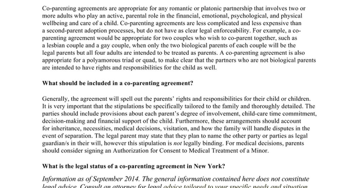 Co Parenting Agreement Info Sheet 92414 Google Docs