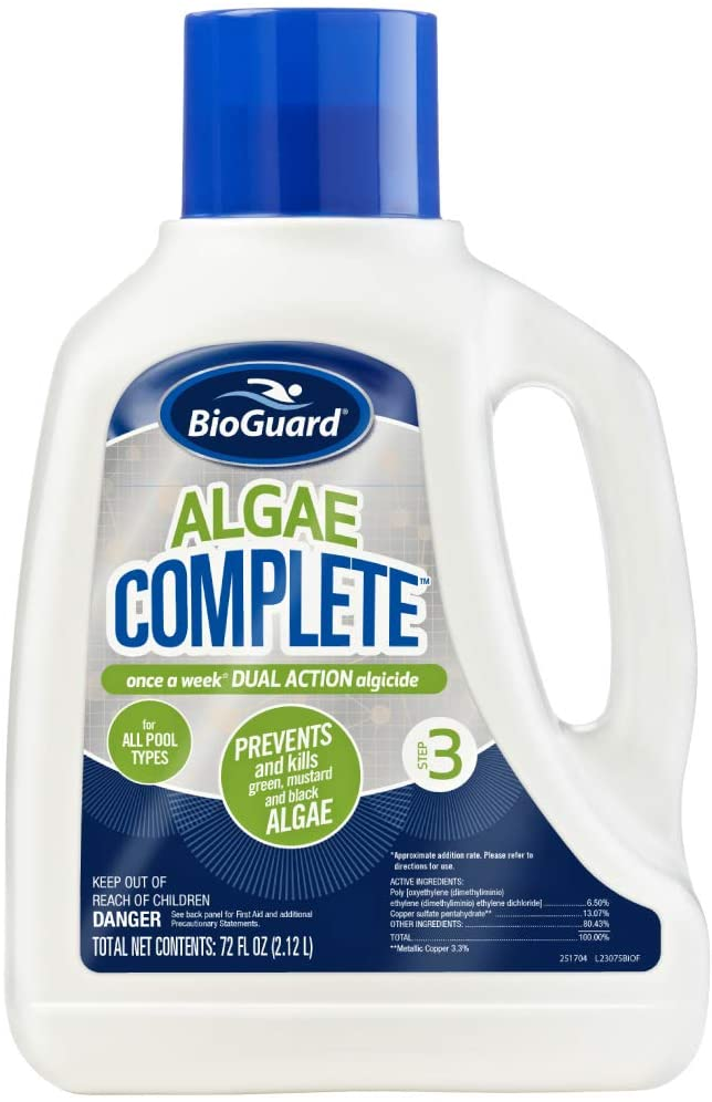 A white jug of Algae Complete algaecide for swimming pools
