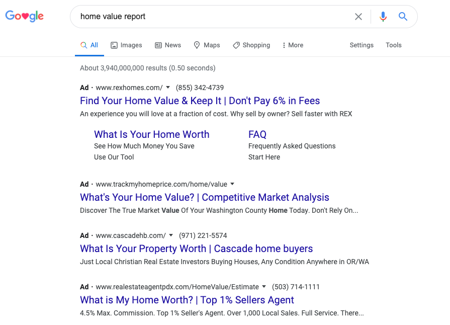 "Example of ad search result for the keyword ""home value report"""