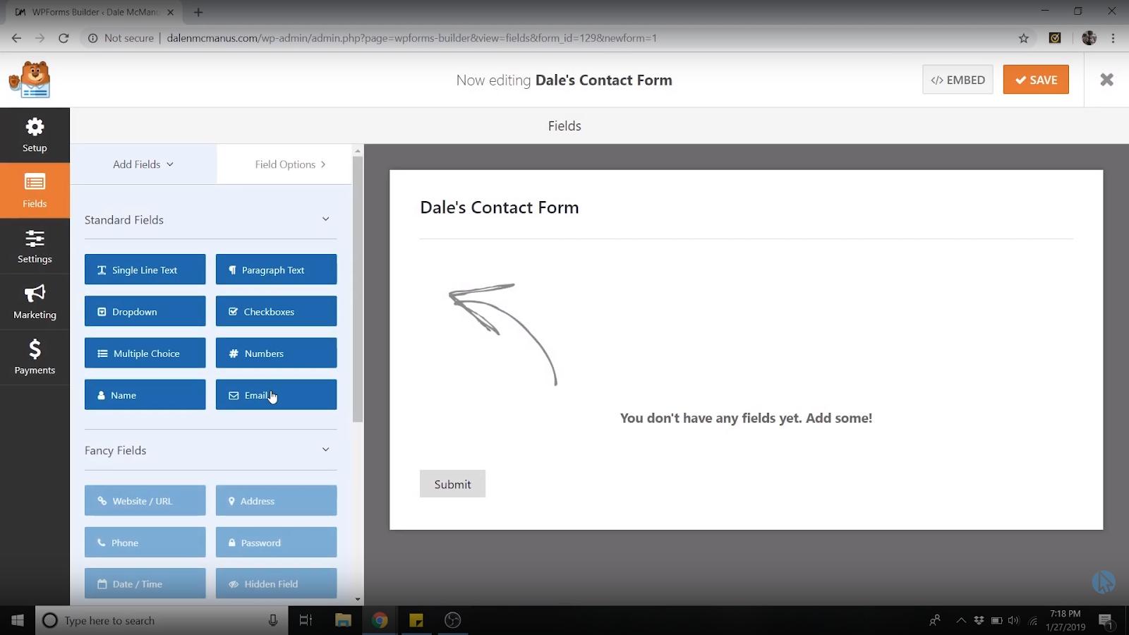 wpforms contact form fields