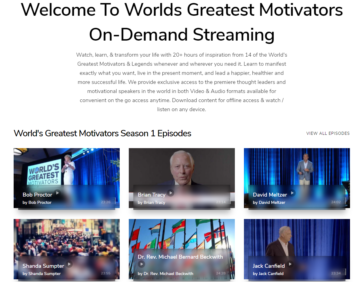 worlds greatest motivators online events streaming platform